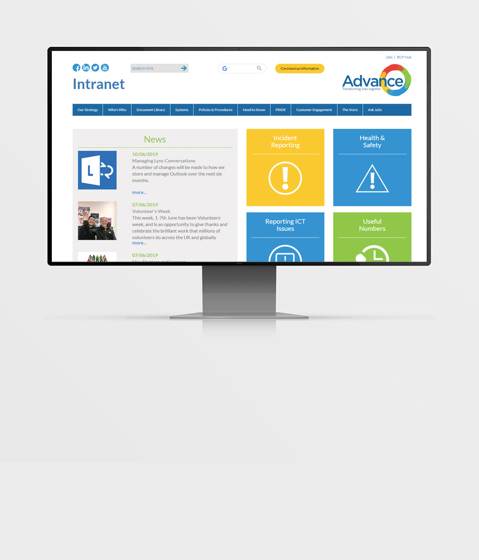 Advance Housing & Support Intranet homepage