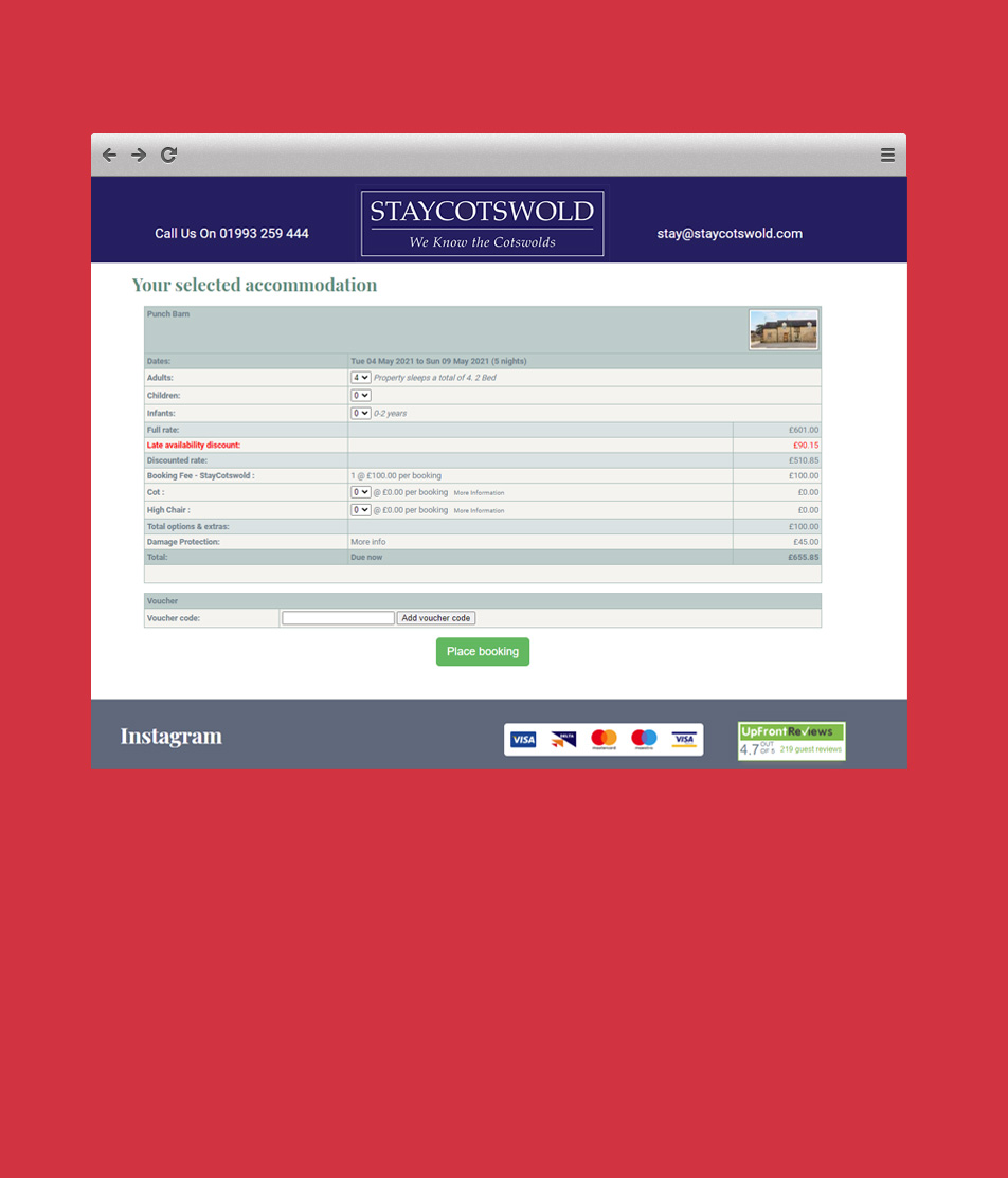 Stay Cotswold Booking System & website by Reuben Digital